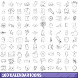100 calendar icons set, outline style. 100 calendar icons set in outline style for any design vector illustration Stock Image