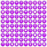 100 calendar icons set purple. 100 calendar icons set in purple circle isolated on white vector illustration Stock Photos