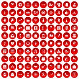 100 calendar icons set red. 100 calendar icons set in red circle isolated on white vector illustration royalty free illustration