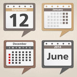 Calendar Icons. Set of calendar icons shaped as speech bubbles Stock Image