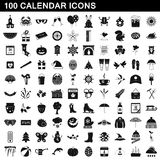 100 calendar icons set, simple style. 100 calendar icons set in simple style for any design vector illustration Royalty Free Stock Photos