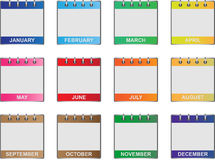 Calendar icons set. Set of twelve icons of all calendar months in the year Stock Images