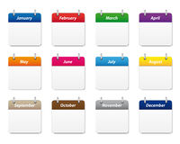 Calendar icons set. Set of calendar icons in various colors royalty free illustration