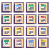 Calendar icons set for 2017 year in flat style. Calendar colored icons set for 2017 year by months in flat style. Calendar icons flat design. Vector illustration royalty free illustration