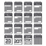 Calendar icons set for 2017 year in flat style. Calendar icons set with grid for 2017 year by months in flat style and black colors. Black and white. Calendar stock illustration