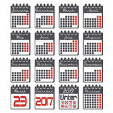 Calendar icons set for 2017 year in flat style. Calendar icons set with grid for 2017 year by months in flat style and black colors with marked in red weekdays stock illustration