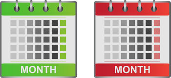 Calendar icons. In two color variants (green and red.) Eps format is available Stock Photos
