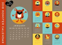 2018 calendar illustrated with cute little monsters. Colorful 2018 calendar illustrated with a cute little monster for every month. Vector illustration Royalty Free Stock Photos