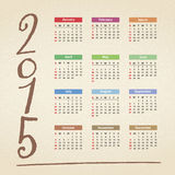 2015 Calendar. Illustration of the 2015 Calendar Stock Illustration
