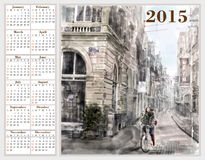 Calendar 2015 with illustration of city street. Royalty Free Stock Photo