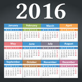 2016 Calendar. Illustration of 2016 Calendar, dark background Royalty Free Stock Photography