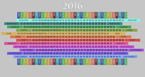 2016 calendar. Illustration of 2016 calendar, with day and month Royalty Free Stock Photos