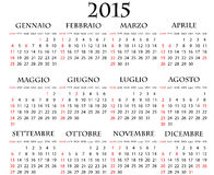 2015 calendar. Illustration of 2015 calendar italian with holidays Stock Images