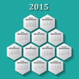 2015 calendar. Illustration made from hexagon shapes against teal background Stock Photo