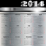 Calendar 2014. Illustration of a calendar on a metal background Royalty Free Stock Images