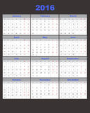 Calendar 2016. Illustration Calendar 2016 with 12 months Royalty Free Stock Image