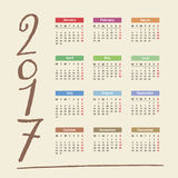 2017 Calendar. Illustration of new year 2017 Calendar Royalty Free Stock Photography