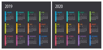 2019 2020 Calendar - illustration. Template. Mock up royalty free illustration