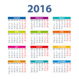 2016 Calendar - illustration vector color design. 2016 Calendar - illustration art vector color design Stock Images