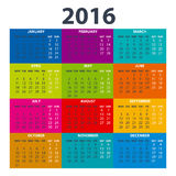 2016 Calendar - illustration vector color design. 2016 Calendar - illustration art vector color design Royalty Free Stock Images