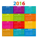 2016 Calendar - illustration vector color design. 2016 Calendar - illustration art vector color design Royalty Free Stock Image