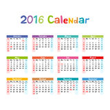 2016 Calendar - illustration vector kids hand made Stock Photos