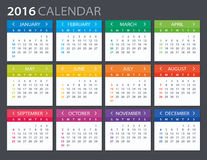 2016 Calendar - illustration. Vector template of color 2016 calendar Stock Photos