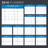 2016 Calendar - illustration. Vector template of color 2016 calendar Royalty Free Stock Photography