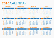 2016 Calendar - illustration. Vector template of color 2016 calendar Stock Illustration
