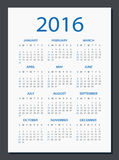 2016 Calendar - illustration. Vector template of color 2016 calendar royalty free illustration