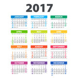 2017 Calendar - illustration Vector template of color 2017 calendar Stock Photography