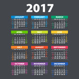 2017 Calendar - illustration Vector template of color 2017 calendar Royalty Free Stock Photos