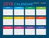 2018 Calendar - illustration. Vector template of color 2018 calendar - Monday to Sunday Royalty Free Stock Photos