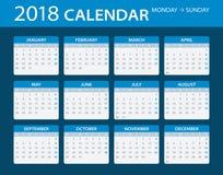 2018 Calendar - illustration. Vector template of color 2018 calendar - Sunday to Monday Stock Photos