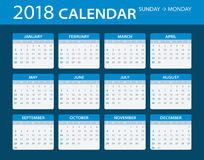 2018 Calendar - illustration. Vector template of color 2018 calendar - Sunday to Monday Royalty Free Stock Images