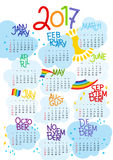 2017 Calendar - illustration Vector template of color. Weeks start on sunday. A4 stock illustration