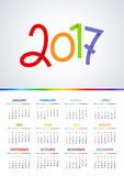 2017 Calendar - illustration Vector template of color. Weeks start on sunday. A4 Stock Images