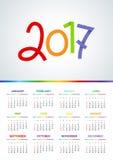 2017 Calendar - illustration Vector template of color. Weeks start on sunday. A4 royalty free illustration