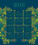 Calendar 2016 illustration vector template with. Green background with floral nature ornament leaves, roses, flowers, branches, campanula, bluebell. week starts Stock Images