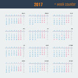 Calendar - illustration Vector template with week counter. 2017 Calendar - illustration Vector template of color 2017 calendar with week counter stock illustration