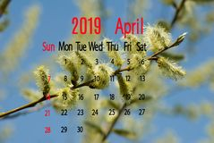 Calendar image of April 2019 on branch background close-up. Calendar image of April 2019 on branch background royalty free stock photography