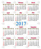Calendar for 2017 with image of cock Stock Photo