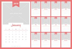 Calendar 2018 with image space vector design Stock Images