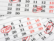 Calendar of important dates Royalty Free Stock Photos
