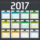 Calendar 2017 including weeks Stock Image