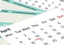 A calendar and 1040 income tax form. 2019, 2020 Tax Form 1040 and a calendar. Tax Day on April 17, the calendar with the word Dead. Line royalty free illustration
