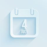 Calendar for Independence Day. Paper style vector icon of 4 July Stock Photos
