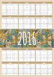 Calendar 2016. Calendar for 2016. Indian ornaments. Week Starts Sunday. Vector Template Stock Photos