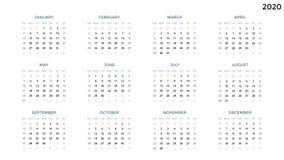 Calendar infographic, carta da tabela, carta da apresentação Conceito do período do negócio Gerente de tarefa Semana, mês 2020 an ilustração royalty free