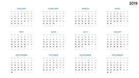 Calendar infographic, tabelldiagrammet, presentationsdiagram Affärsperiodbegrepp Uppgiftschef Vecka månad 2019 år Royaltyfri Bild